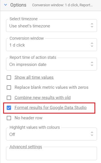 Format results for Google Data Studio 1