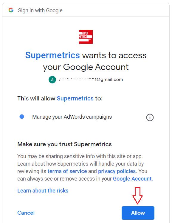 allow supermetrics