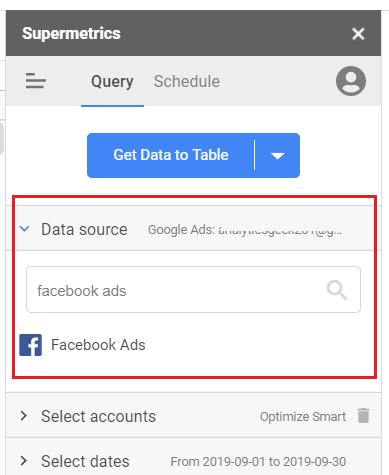 data source facebook ads