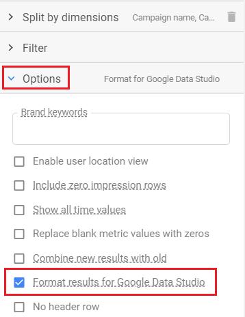 format results for google data studio