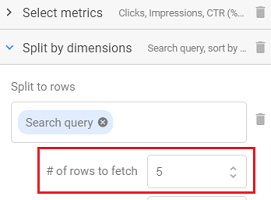 number of rows to fetch to 5