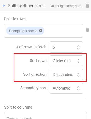 sort rows sort direction 1