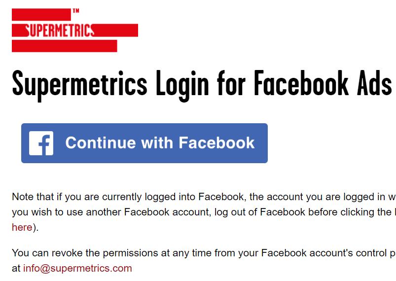 supermetrics login for facebook ads
