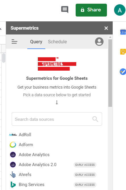extract data from Google Ads to Google Sheets