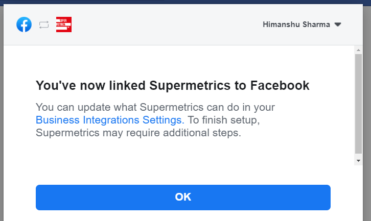 you have now linked supermetrics to facebook