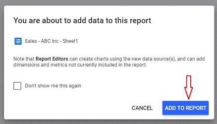 Add to Report google data studio