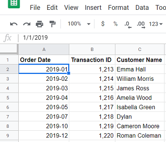 Consider the following Google Sheets data source