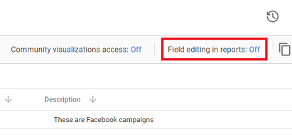 Field editing in reports setting to OFF