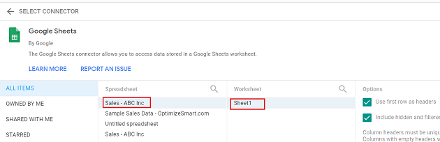 Find and click on your Google sheets document