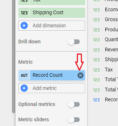 Remove the Record Count field from the data table