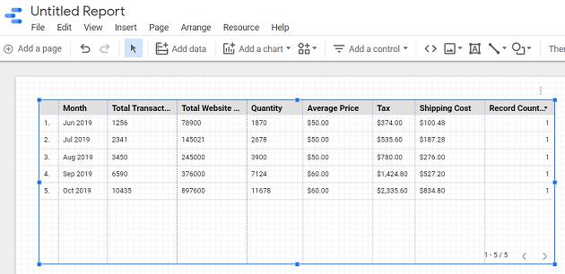 Resize your data table data studio 2