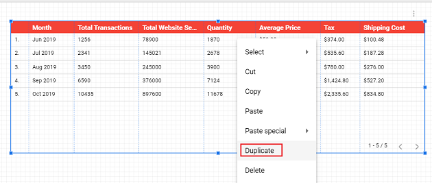 Right click on the table and then select Duplicate
