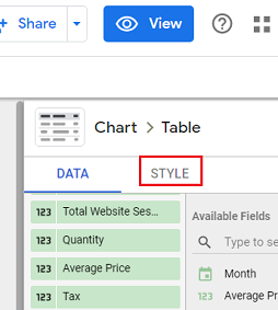 Style tab in the property panel data studio