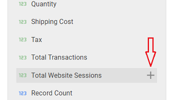 Total Website Sessions field