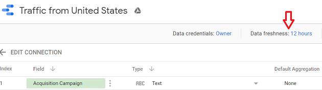 change the data freshness setting