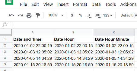 consider the following Google Sheets data source2