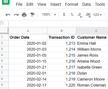 consider the following Google Sheets data source3