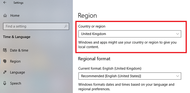 country or region settings