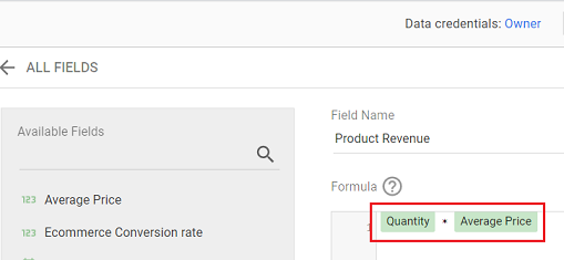 create a new calculated field called Product Revenue