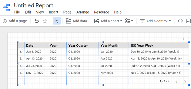 create a report from this data source schema 1