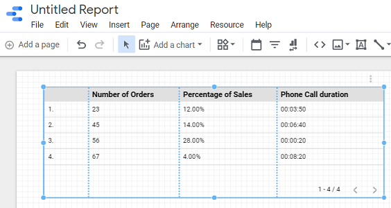 create a report from this data source schema