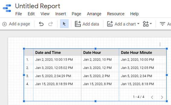 create a report from this data source schema2