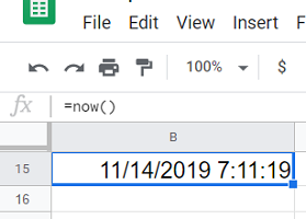 current date and time in the spreadsheet 2