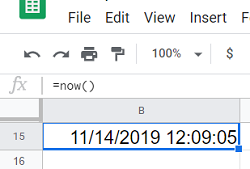 current date and time in the spreadsheet
