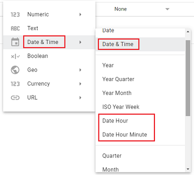 data types for absolute time in Google Data Studio
