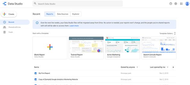 google data studio home page