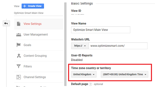 timezone settings for the reporting view