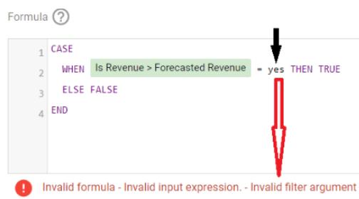Invalid formula: Invalid input expression - Invalid filter argument