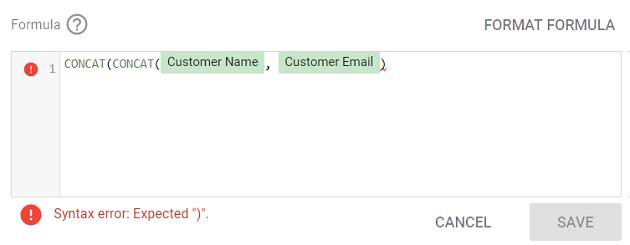 "Syntax error: Expected "")"""