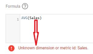 Unknow dimension or metric id: Sales