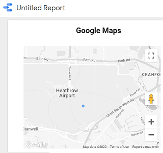 Google Maps embedded in a data studio report
