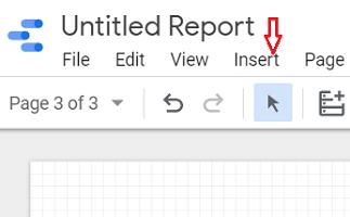 google data studio insert menu