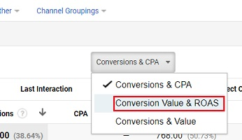 conversion value and roas option