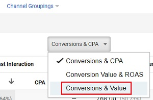 conversions and value option
