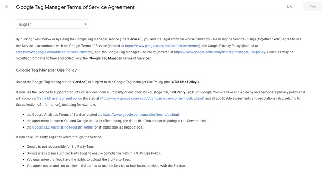 GTM terms of service agreement