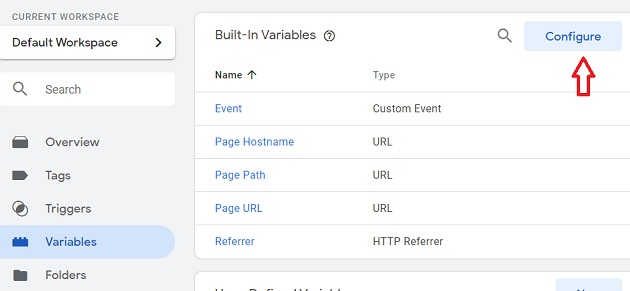 built in variables gtm