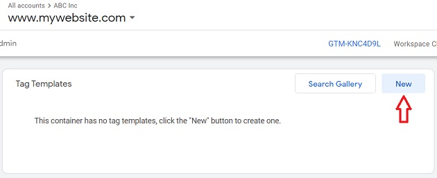 create new tag template