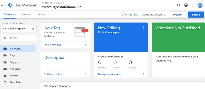 google tag manager user interface