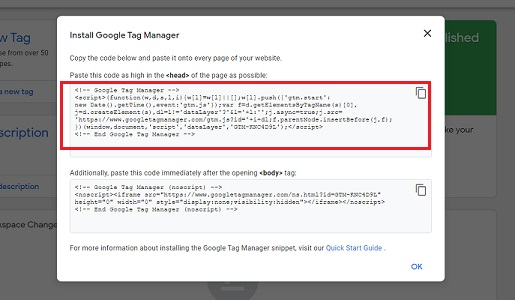 head install google tag manager