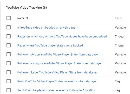 youtube video tracking folder gtm