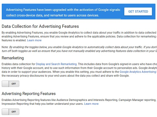 Advertising Features have been upgraded with the activation of Google signals