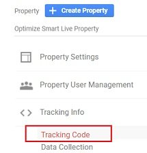 Click on the 'Tracking Code link