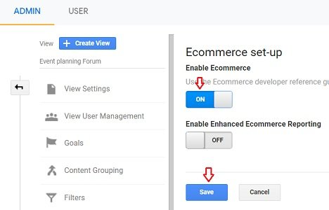 Switch on the 'Enable Ecommerce' toggle button