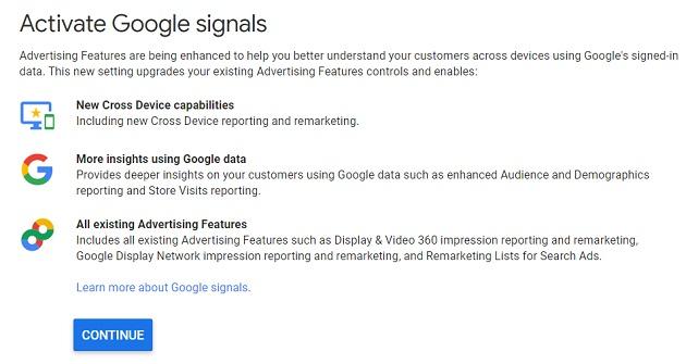 activate google signals