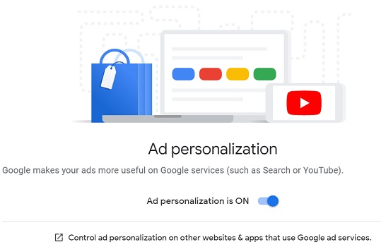 ad personalization is on