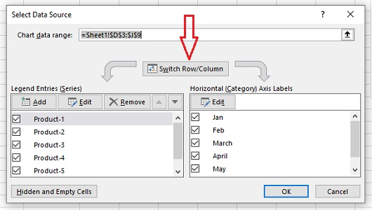 compare data excel switch row and column excel charts